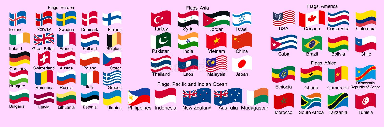 Set of Flags of world sovereign states royalty free illustration