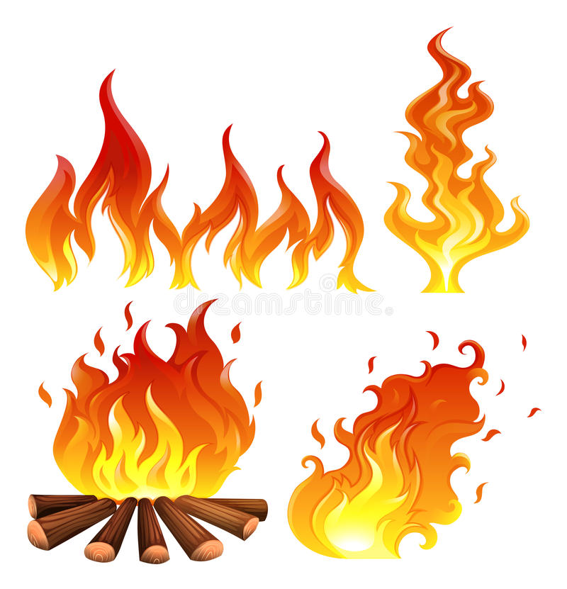 Set of flames. Illustration of the set of flames on a white background royalty free illustration