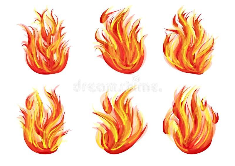 Set of flames stock illustration