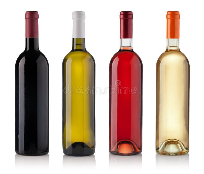 Set Flaschen getrennt auf weißem Hintergrund stockbilder