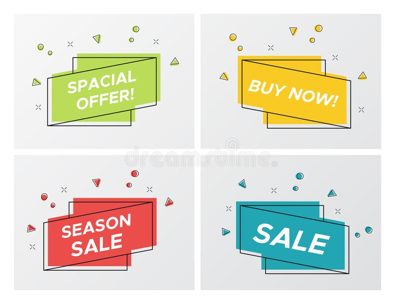 Set of bright sale ribbons with particle blast stock illustration