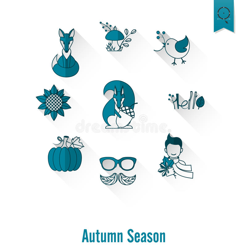 Set of Flat Autumn Icons royalty free illustration