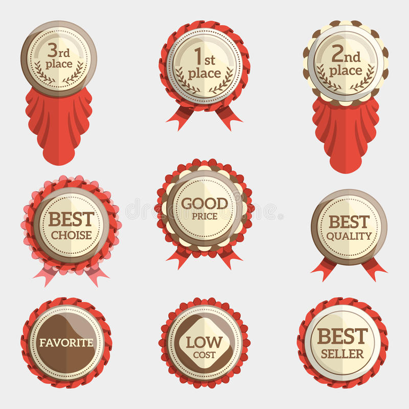 Set of flat badges with text and ribbons. badge collection. stock illustration