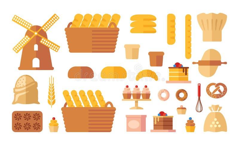 Set of flat bakery icons . Vector illustration royalty free illustration