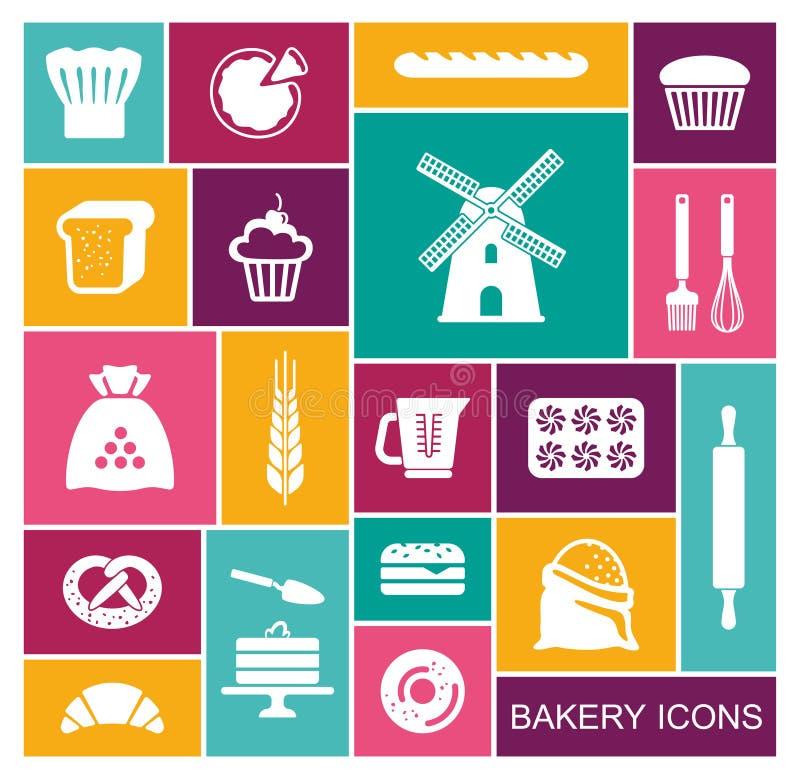 Set of flat bakery icons. Vector illustration stock illustration