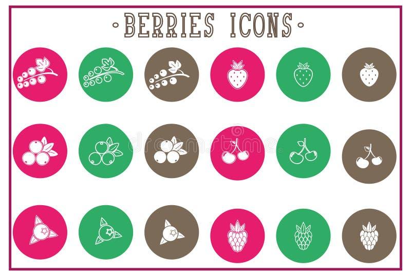 Set of flat berries icons - white, outline print vector illustration