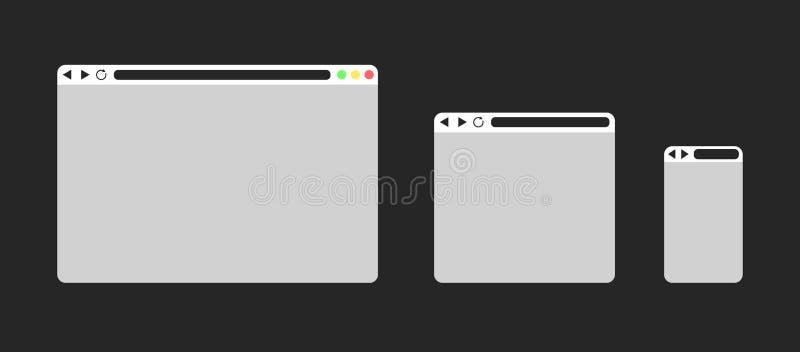 Set of Flat blank browser windows stock illustration