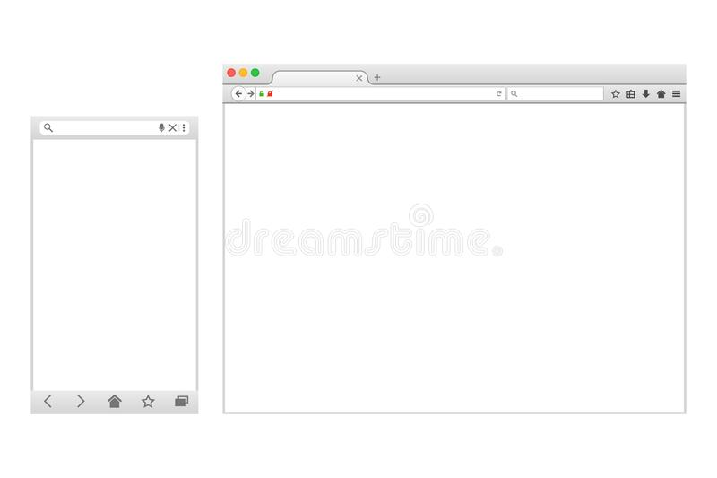 Set of Flat blank browser windows for different devices. stock illustration