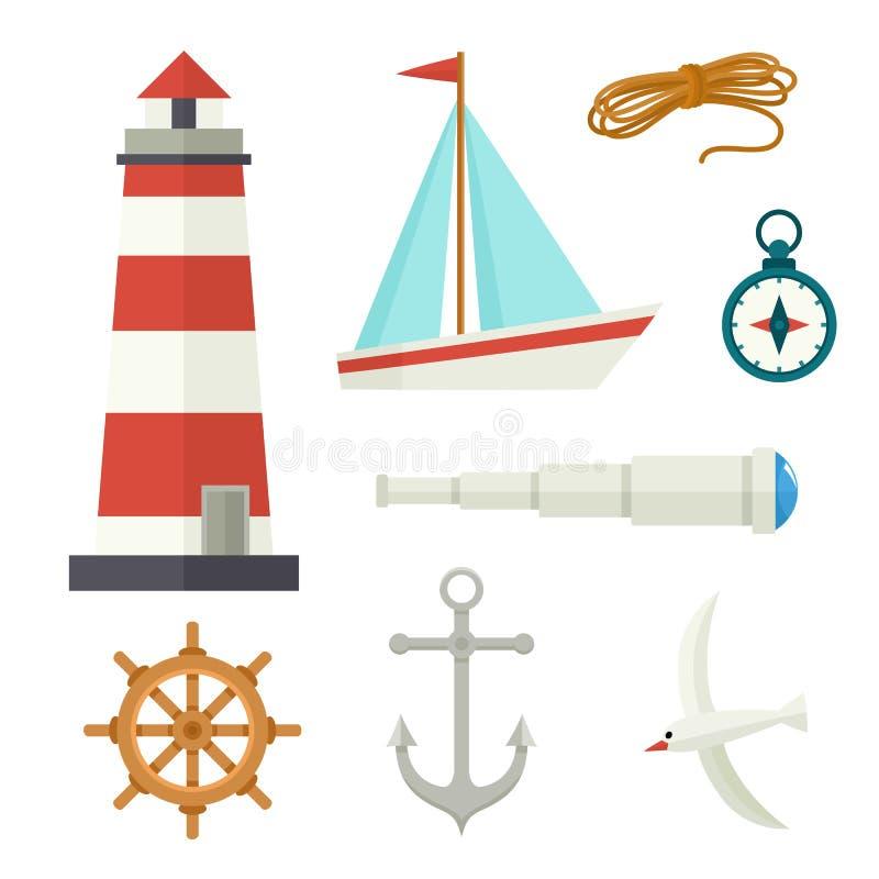 Set of flat cartoon style nautical elements stock illustration