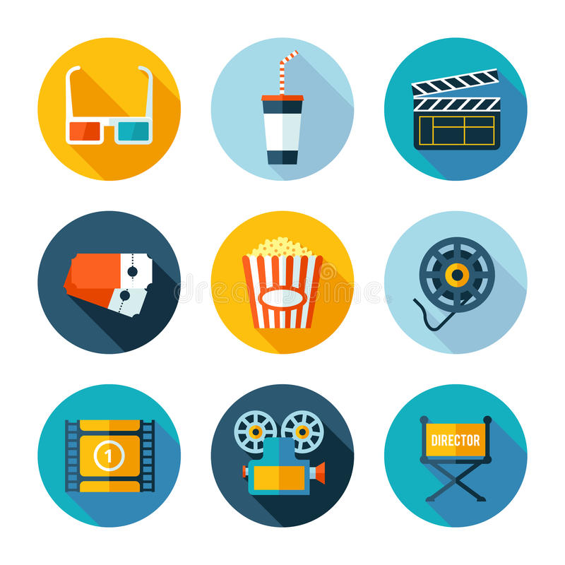 Set of flat cinema and movie icons. Set of cinema icons. Vector cinema and movie stuff in flat modern style stock illustration