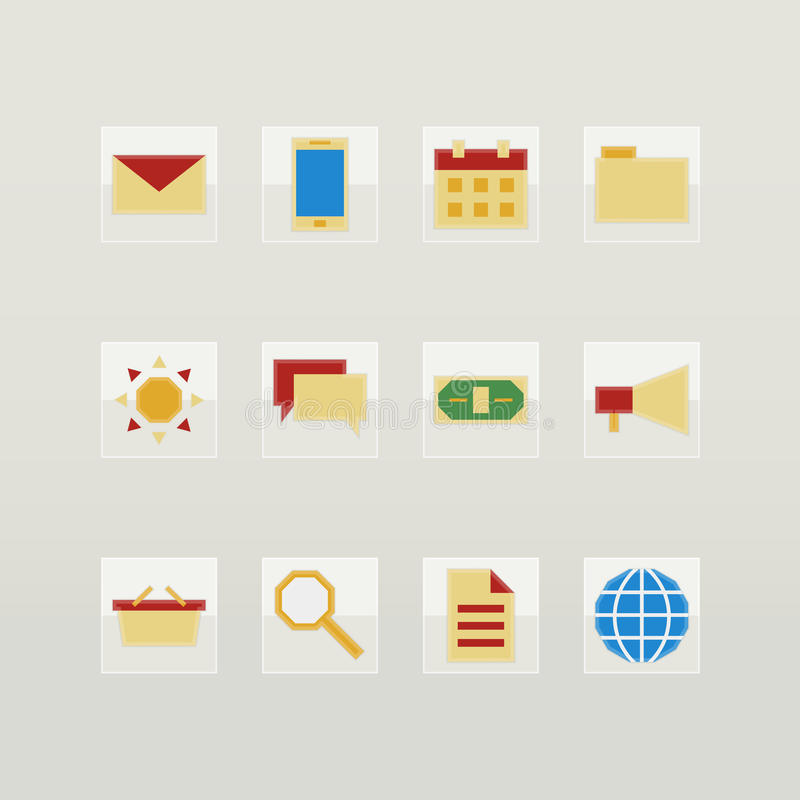 Download Set of flat color icons stock vector. Illustration of communication - 39923523