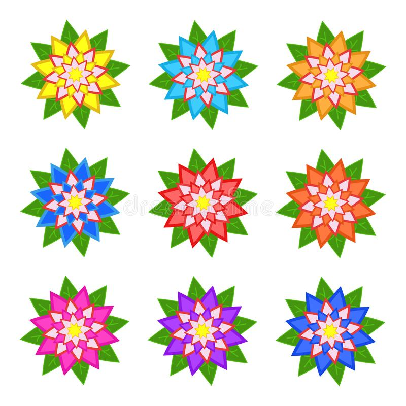 Set of flat colored abstract flowers isolated on white background. Simple design for decoration vector illustration