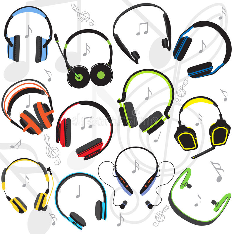 Set of the flat colored headphones vector illustration