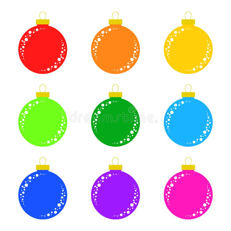 Set of flat colored isolated Christmas tree toys. Decoration balls are red, orange, yellow, green, blue, purple, pink stock illustration