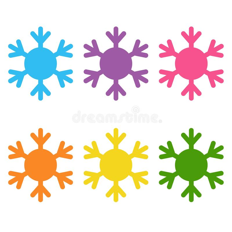 Set of flat colored simple web icons winter snowflakes , vector illustration royalty free illustration