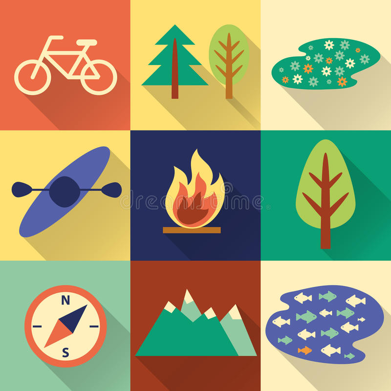 Set of flat colorful hiking, trekking and camping icons. vector illustration