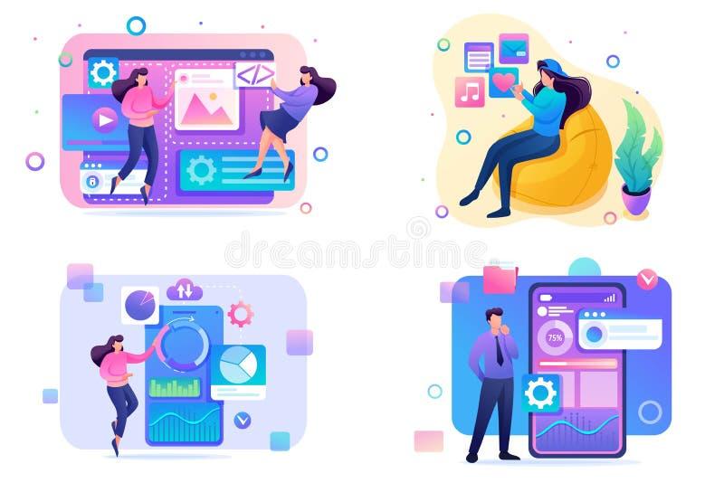 Set Flat 2D concepts concepts web design, social networks, data analysis, mobile collection. For Concept for web design vector illustration