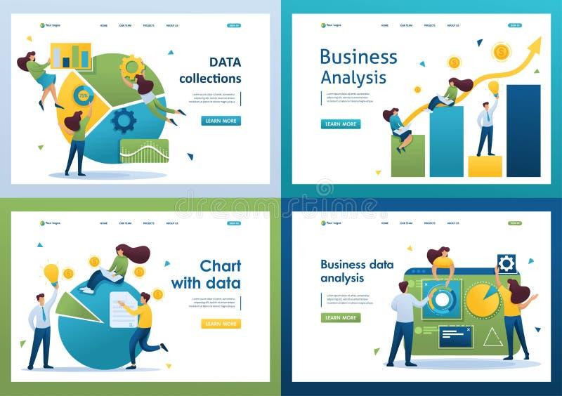 Set Flat 2D Konzepte Business Data Analysis, Analytics, Chart with data, DATA collections lizenzfreie abbildung
