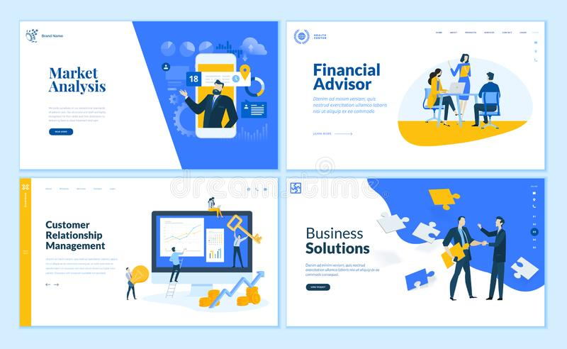 Set of flat design business web page templates royalty free illustration