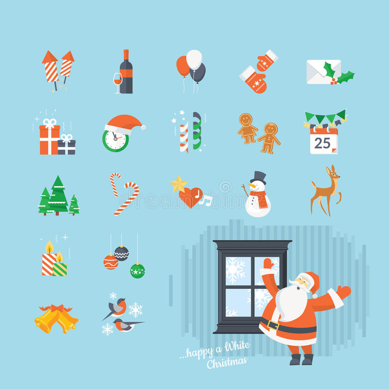 Set of flat design Christmas and New Year icons vector illustration