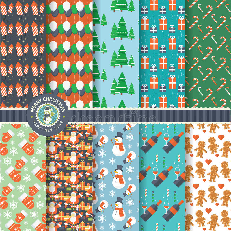 Set of flat design Christmas and New Year seamless patterns royalty free illustration