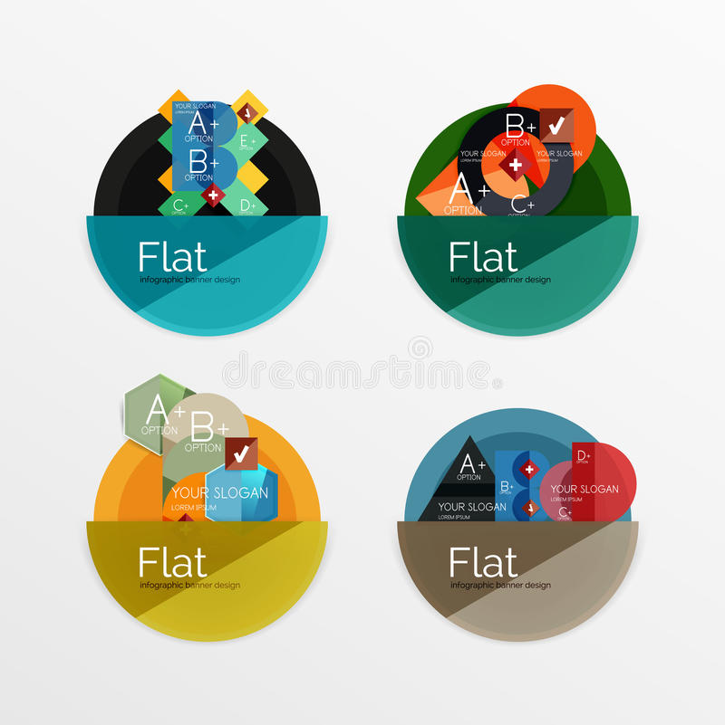 Set of flat design circle infographic icons. Set of flat design circle icons with geometric infographic diagrams, layouts vector illustration