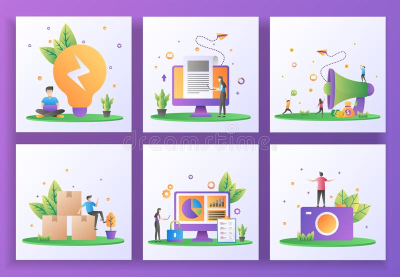 Set of flat design concept. Business solution, Breaking news, Refer a friend, Distribution, Data security, Photography. Can use royalty free illustration