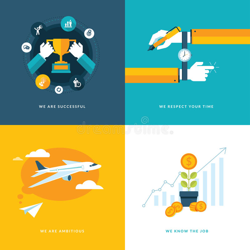 Set of flat design concept icons for business royalty free illustration