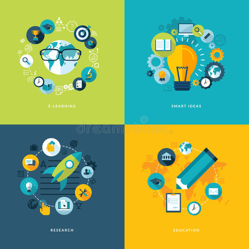 Set of flat design concept icons for education stock illustration
