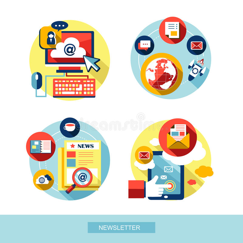 Set of flat design concept icons vector illustration