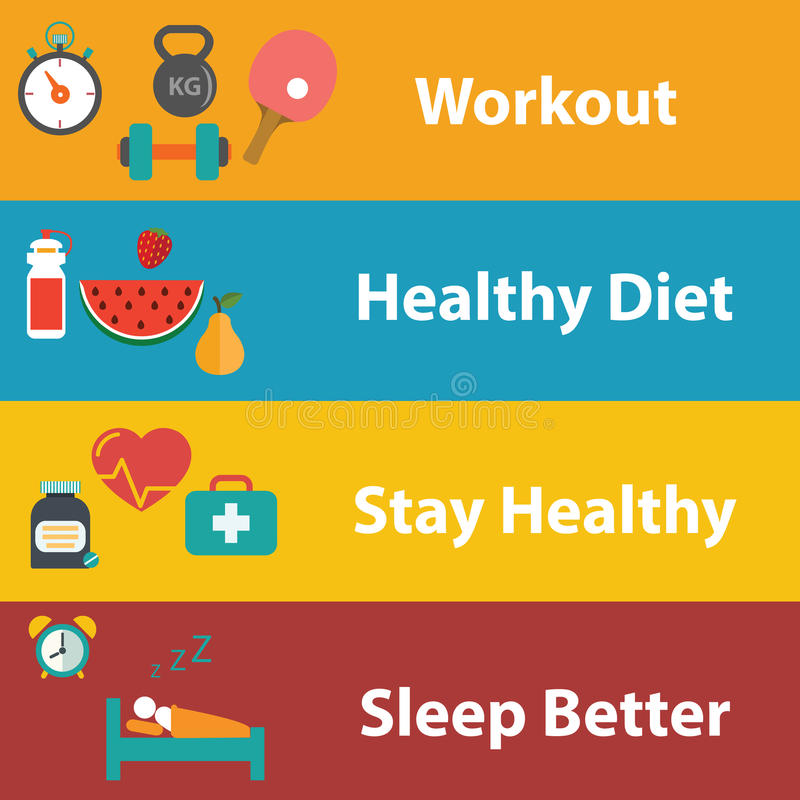 Set of flat design concept icons for web and mobile phone rest and relax, medical, Healthy style life, healthy food and farm fresh. Concept. Sports Health stock illustration