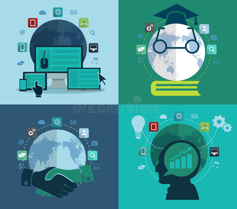 Set of flat design concept icons for web. Social network, education, investment, global business, Abstract infographic modern design template workflow stock illustration