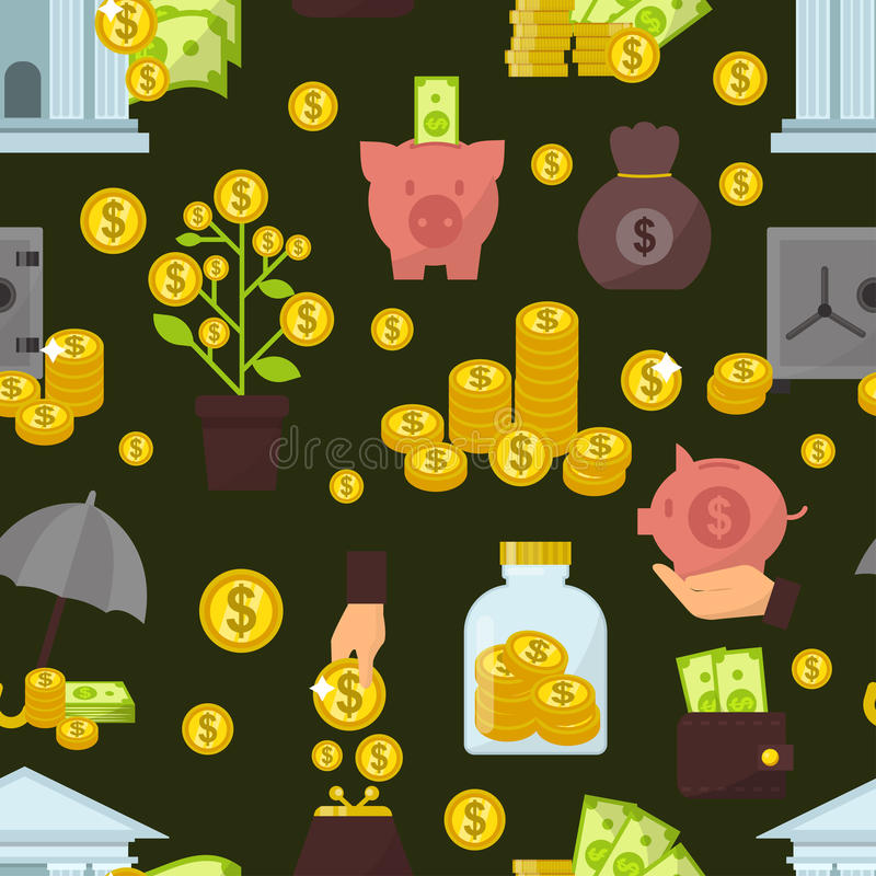 Set of flat design concept money icons for finance banking online payment dollar buck cash note commerce vector pattern vector illustration