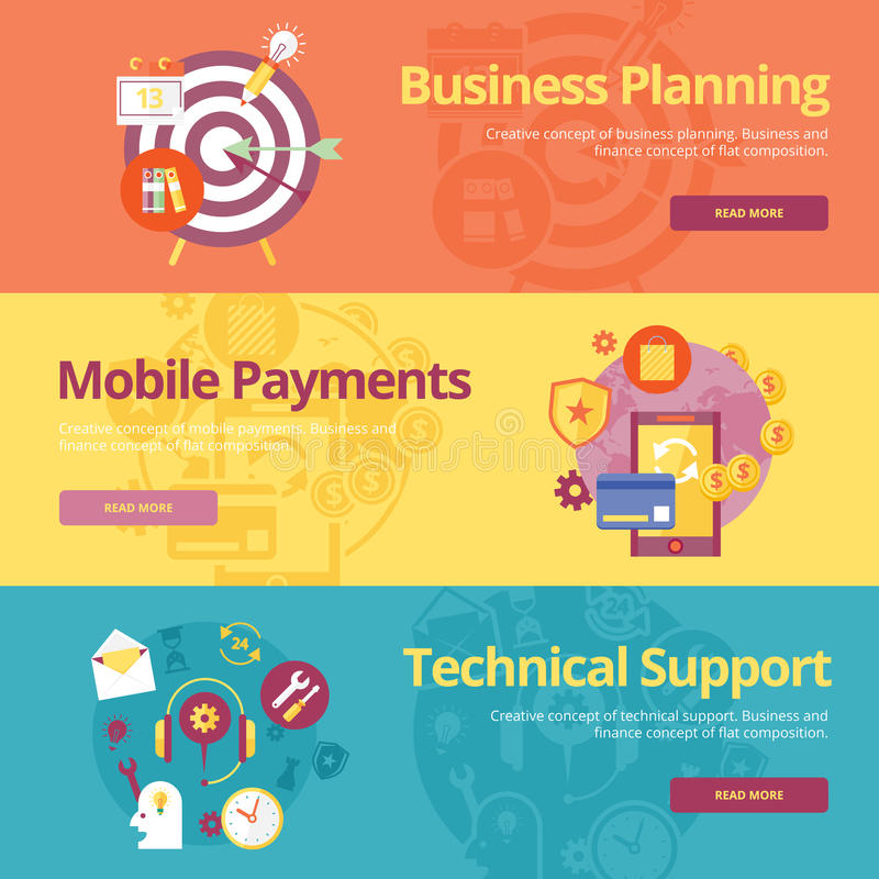 Set of flat design concepts for business planning, mobile payments, technical support. Concepts for web banners and print materials royalty free illustration