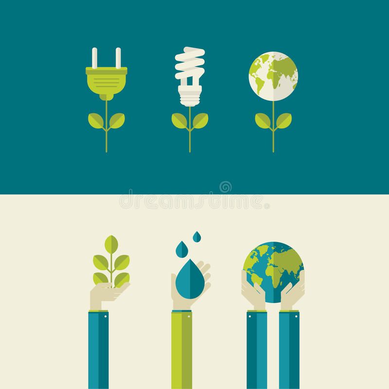 Set of flat design concepts for ecology stock illustration