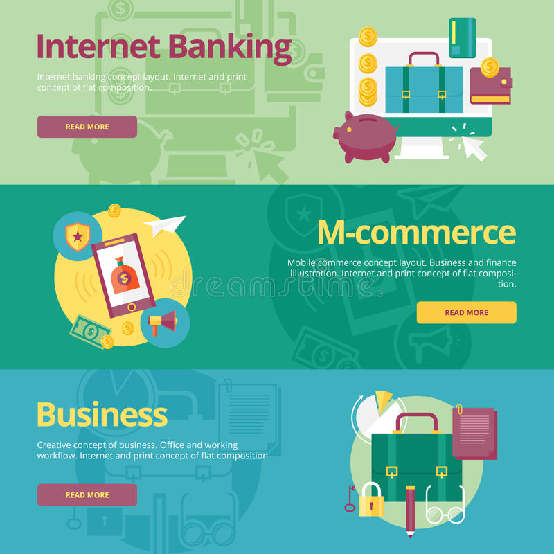 Set of flat design concepts for mobile banking, m-commerce, business. royalty free illustration