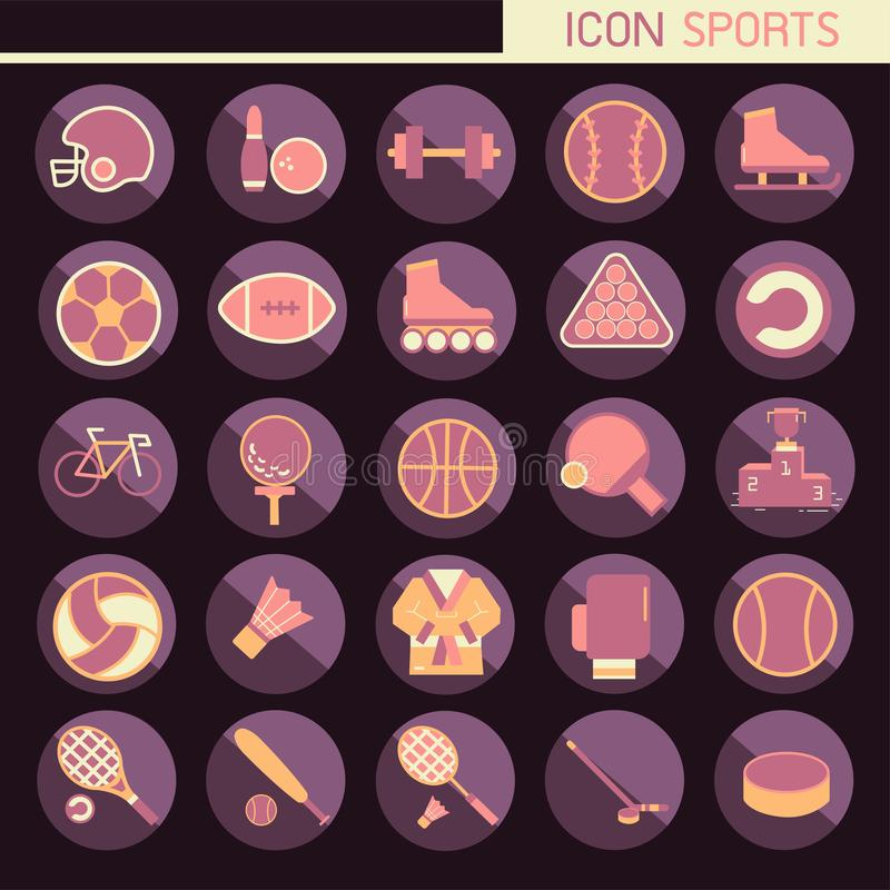 25 set Flat design, Contains such Icons rugby, bowling, football, basketball, baseball, tennis and more, Elements and objects o. F sport, Isolated on background stock illustration