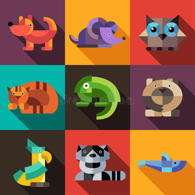 Set of flat design geometric animals icons. Set vector of flat design geometric animals icons royalty free illustration