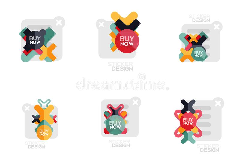 Set of flat design geometric stickers and labels, price tags, offer promotion badges, icon designs, paper style with buy royalty free illustration