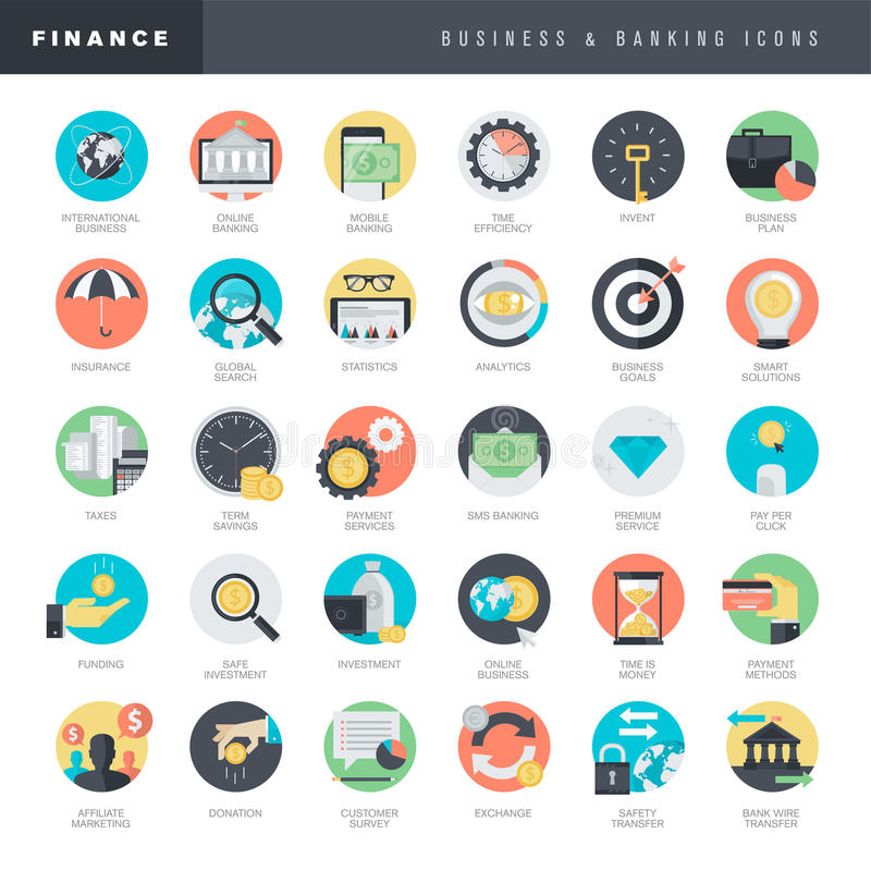 Set of flat design icons for business and banking royalty free illustration