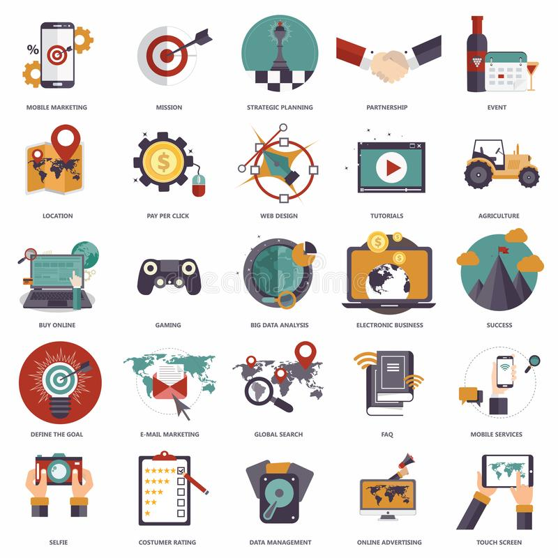 Set of flat design icons for business, pay per click, creative process, searching, web analysis, work-flow, on line shopping. Icons for website development and stock illustration