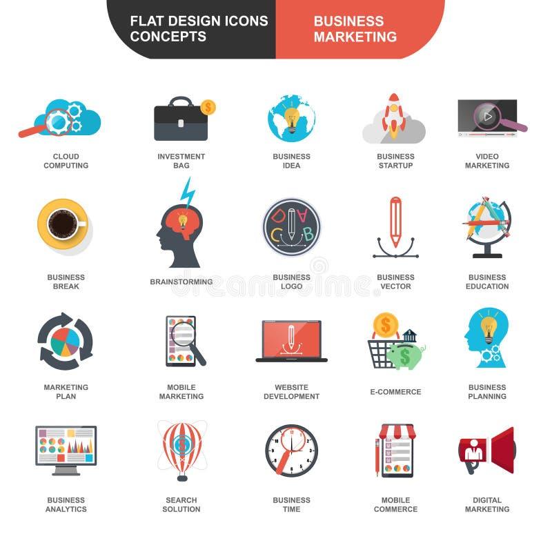 Set of flat design icons concept for marketing royalty free illustration