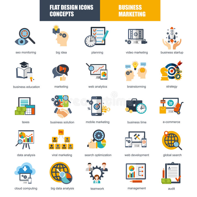 Set of flat design icons concept for marketing and strategy analysis stock illustration