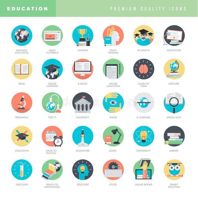 Set of flat design icons for education royalty free illustration