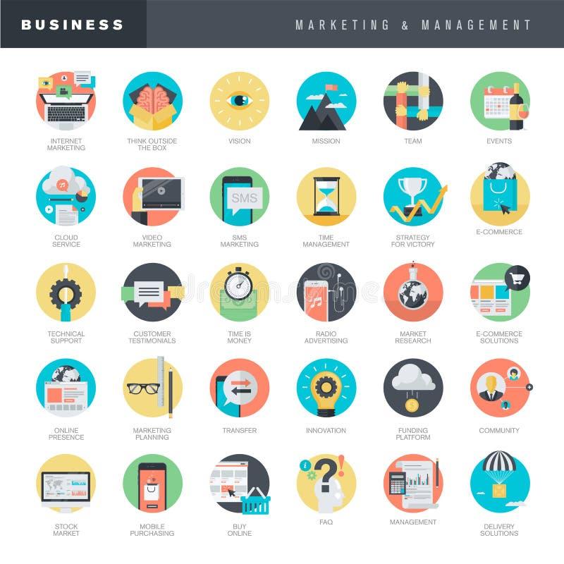 Set of flat design icons for marketing and management stock illustration