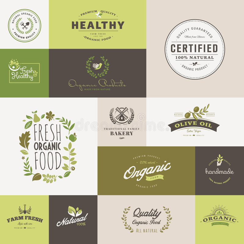 Set of flat design icons for organic food and drink royalty free illustration