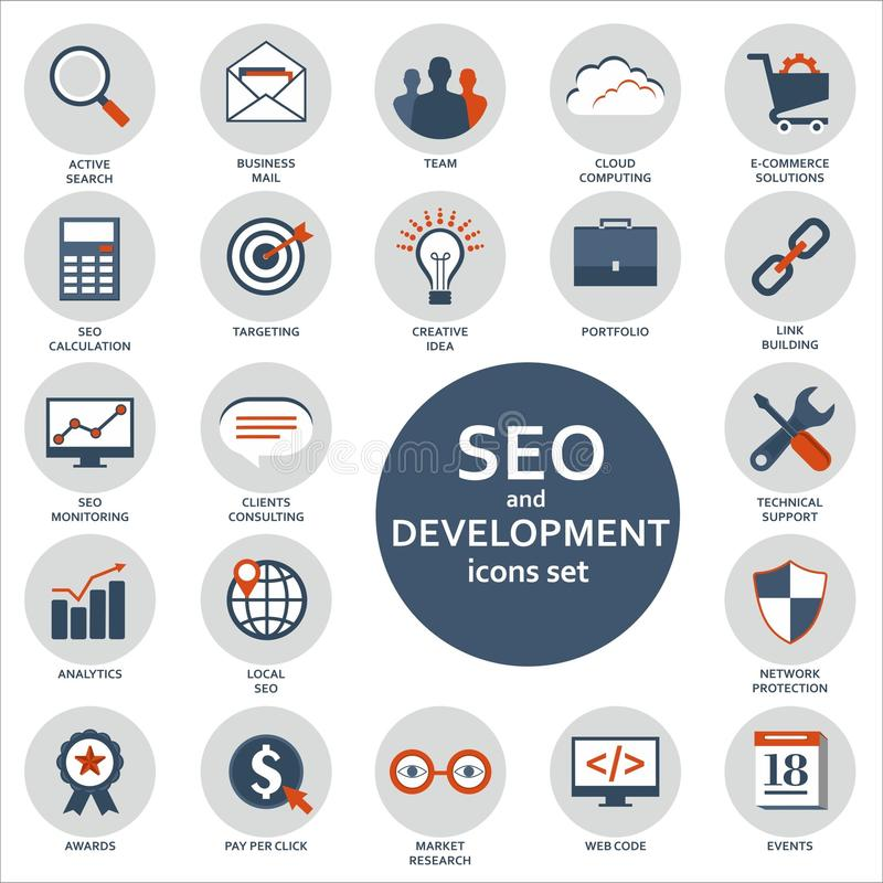 Set of flat design icons for Seo and Development vector illustration