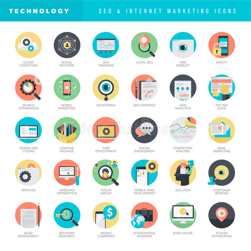 Set of flat design icons for SEO and internet marketing. Set of flat design vector icons for SEO and internet marketing vector illustration