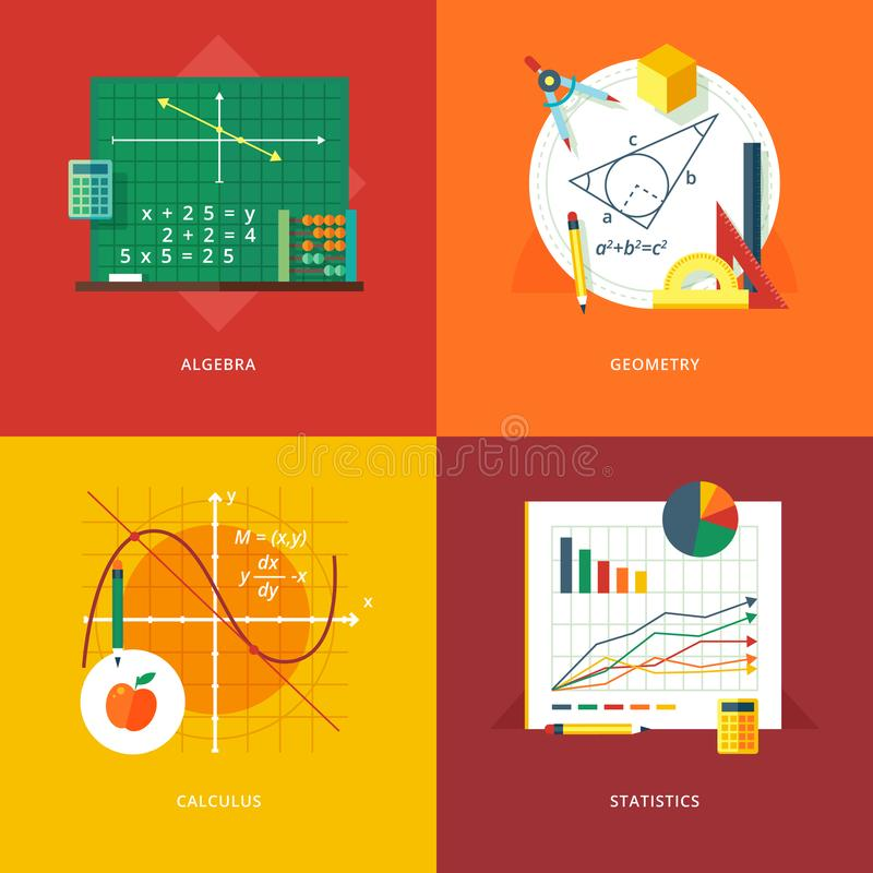 Set of flat design illustration concepts for algebra, geometry, calculus, statistics. Education and knowledge idea. S. Mathematic science. Concepts for web vector illustration