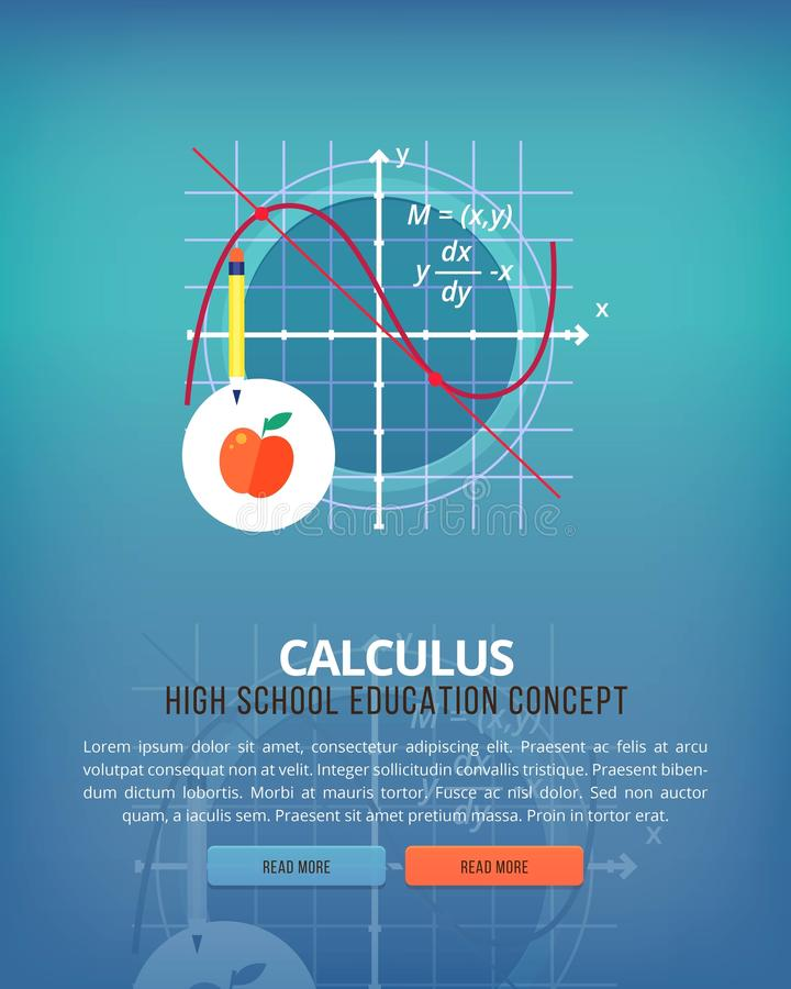 Set of flat design illustration concepts for calculus. Education and knowledge ideas. Mathematic science. Concepts for. Web banner and promotional material stock illustration